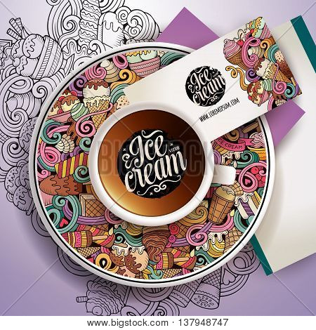 Vector illustration with a Cup of coffee and hand drawn ice cream doodles on a saucer, on paper and on the background