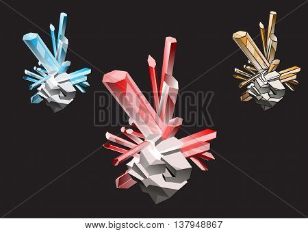 crystals of different colors and stroke ruby topaz, sapphire