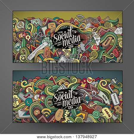 Cartoon colorful vector hand drawn doodles internet corporate identity. 2 Horizontal banners design. Templates set