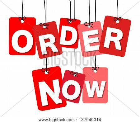 Vector colorful hanging cardboard. Tags - order now on white background