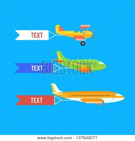Aeroplane, planes, biplane. Set of colorful flat air transports with cloud. Vector illustration.