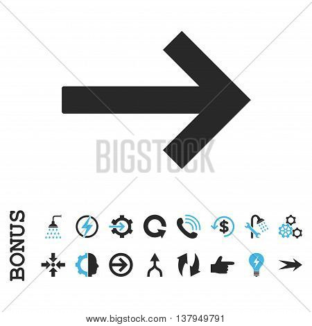 Right Arrow vector bicolor icon. Image style is a flat pictogram symbol, blue and gray colors, white background.