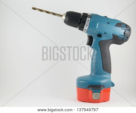 Cordless screwdriver with a drill on a white background