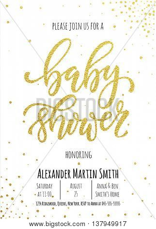 Baby Shower invitation card template. Classic golden calligraphy vector lettering. White background with gold glittering polka dot decoration.