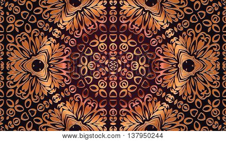abstract arabesque openwork pattern and geometric shapes in bronze on a dark background