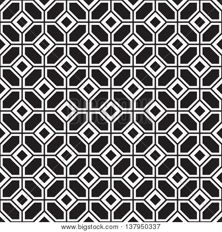 Seamless parquetry vector monochrome pattern background black and white