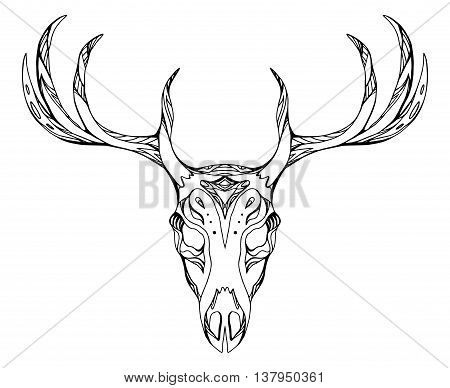 Contour illustration of a deer skull with antlers with boho pattern. Vector doodle element for printing on T-shirts tattoo sketch postcard and your creativity