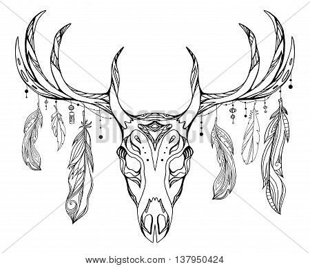 Contour illustration of a deer skull with antlers and feathers with boho pattern. Vector doodle element for printing on T-shirts tattoo sketch postcard and your creativity
