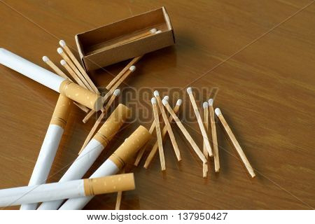 Matchstick Matchbox And Cigarette