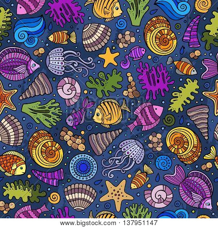 Cartoon hand-drawn sea life seamless pattern. Colorful detailed, with lots of objects funny vector background