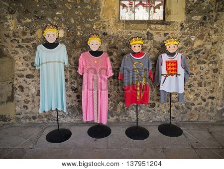 CHICHESTER ENGLAND - OCTOBER 22 2015: mannequins with mediaval children cloths in the Chichester cathedral