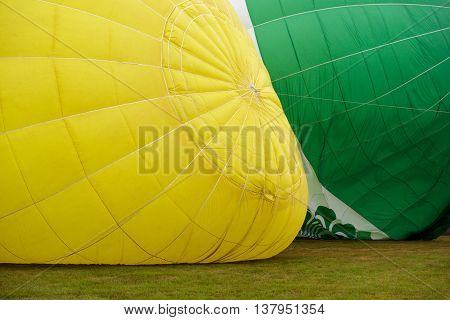 Colorful hot air balloons preparing for the flight
