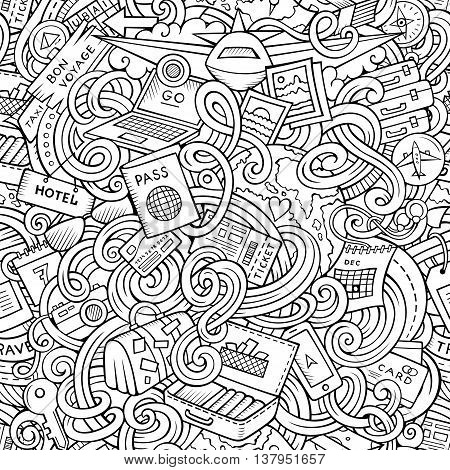 Cartoon cute doodles hand drawn travel planning seamless pattern. Contour detailed, with lots of objects background. Endless funny vector illustration. Line art backdrop.
