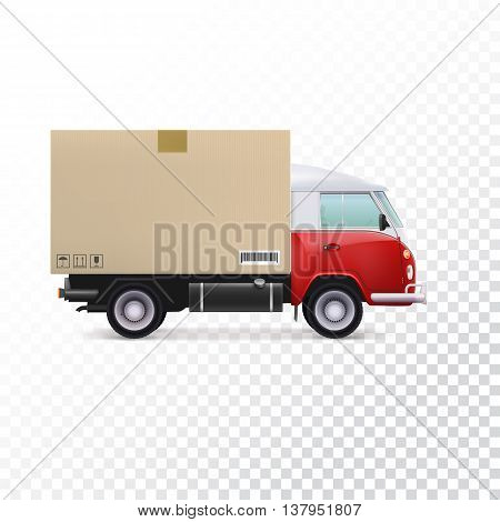 Red and white delivery van with cardboard package and fragile signs. Delivery vehicle truck for the shipping of goods on transparent background.