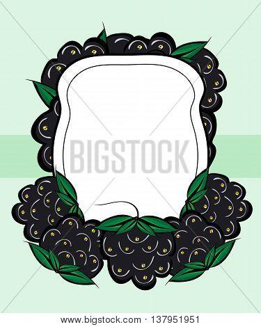 Vector hand drawn labels berry BlackBerry. BlackBerry