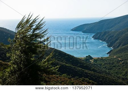 Greek mediterranean sea coast at morning in Macedonia, Greece