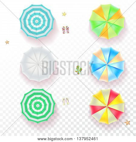 Set of colorful beach umbrellas on the transparent background with beach flip flops and starfish, top view icons. Vector illustration for your design, poster, covers, invitation, or flyer.