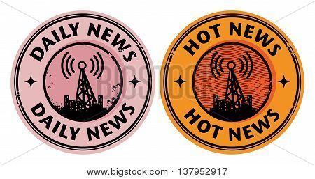 Grunge rubber stamp with radio tower and the word News written inside the stamp, vector illustration