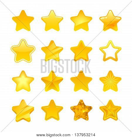 Stars icons set vector illustration. Assorted symbols. Golden yellow color. Good for ranking and logo design.