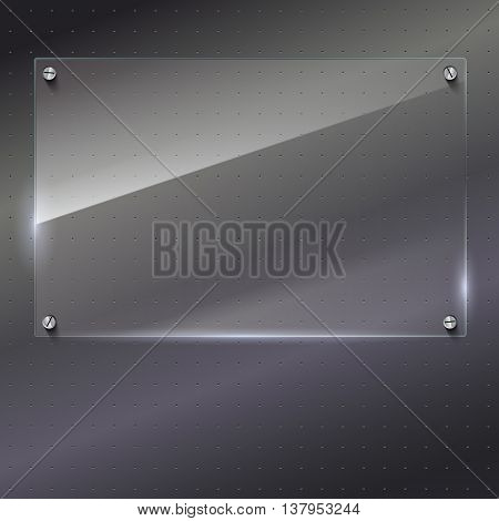 Vector glass frame with steel rivets. Glass framework. Transparent glass frame on the background of polished metal.