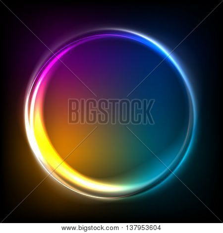 Colorful lights background glow shine abstract vector illustration. Electric round frame with sparkles. Good for poster banner ad cover design.