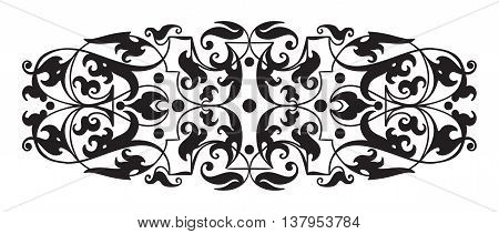 Oriental decorative element. Zentangle black and white. Vector illustration.