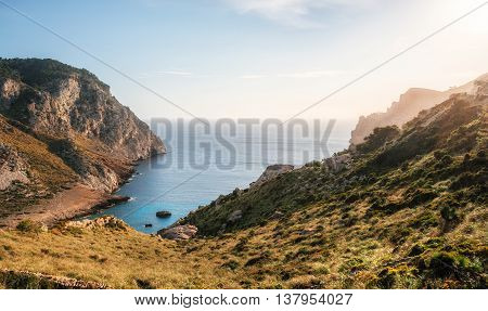 View of one of the most beautiful bays of Cape Formentor with azure water wild beach Mallorca Spain