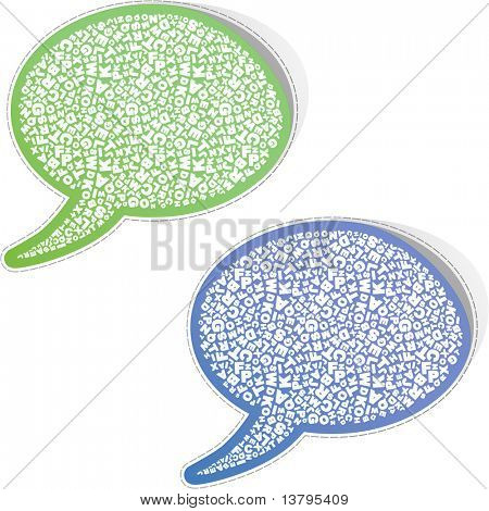 Speech bubbles with letter, mix. Sticker set for sale.