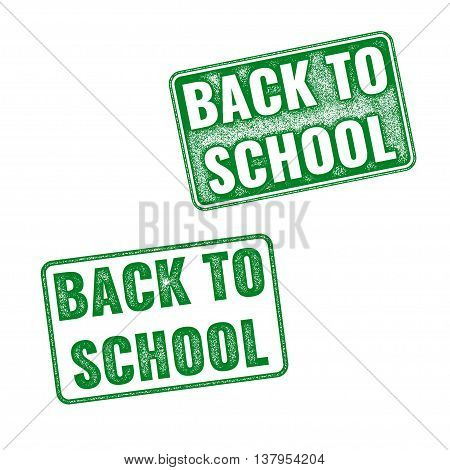 Realistic Green Vector Stamp Back To School