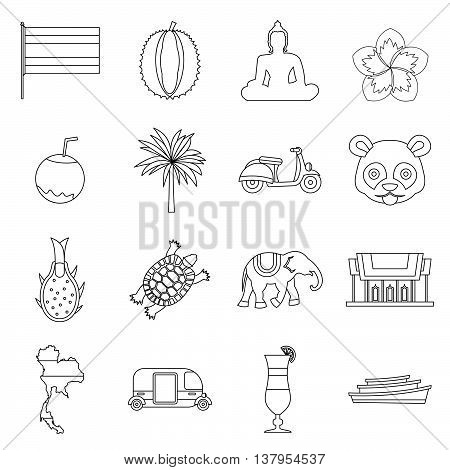 Costa Rica icons set in outline ctyle. Republic of Costa Rica set collection vector illustration