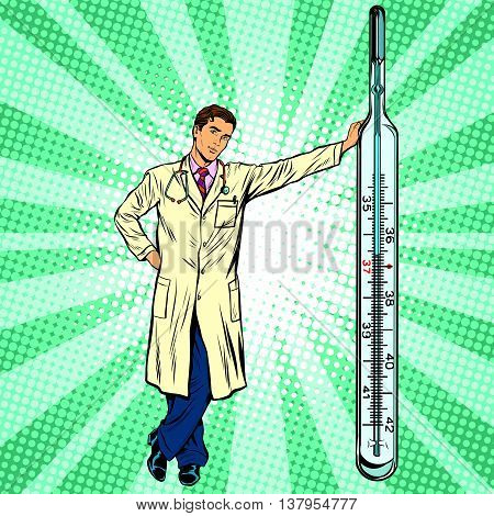Retro medical doctor with thermometer pop art vector, realistic hand drawn illustration. Medicine and health. Professional at work