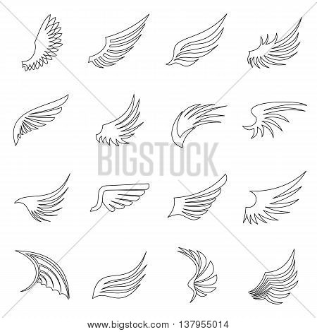 Wing icons set in outline ctyle. Birds and angel wings set collection vector illustration