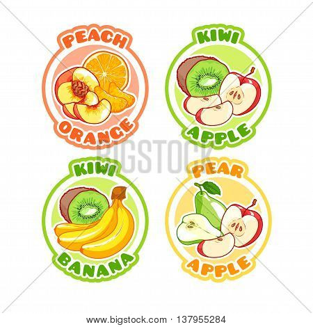 Four stickers with different combinations of fruits. Peach orange kiwi apple banana and pear. Vector cartoon illustration isolated on a white background.