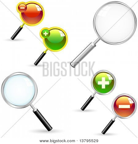 Magnifiers with plus and minus signs. Great collection.