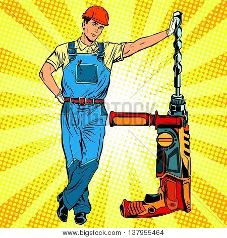 Beautiful professional Builder with electric drill pop art retro vector, realistic hand drawn illustration. Construction and repair