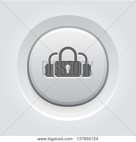 Multikey Security Services Icon. Flat Design. Security concept with a three padlocks. App Symbol or UI element. Grey Button Design