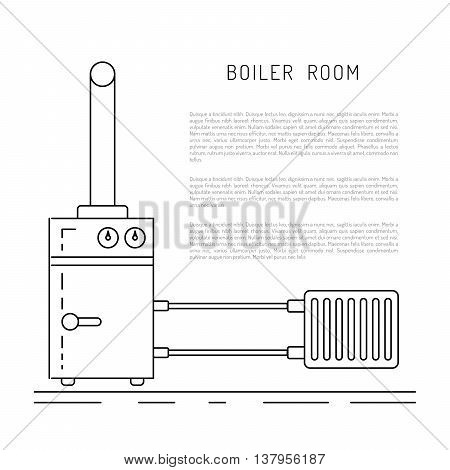 The set of items of equipment for boiler rooms and heating in the cold season. Heating boiler Bolek water heater heat accumulators battery painted in the style outline linear