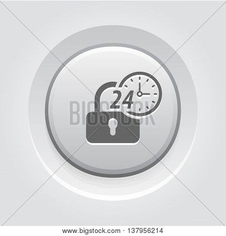 Secured 24-hour Icon. Flat Design. Security Concept with a padlock and a clock. App Symbol or UI element. Grey Button Design