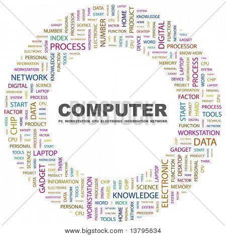 COMPUTADOR. Colagem de palavra sobre fundo branco. Ilustração com termos de associação diferente.