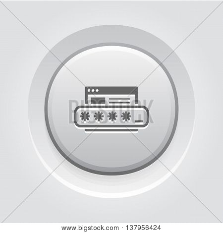 Limited Access Icon. Flat Design. Security Concept with a Web Page and a Password box. App Symbol or UI element. Grey Button Design