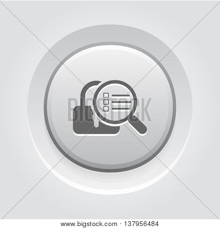Security Scan Icon. Flat Design. Security concept with a padlock and a magnifying glass. App Symbol or UI element. Grey Button Design