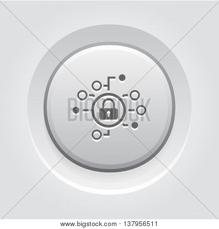 Cyber Security Icon. Flat Design. Security concept with a padlock and a points. App Symbol or UI element. Grey Button Design