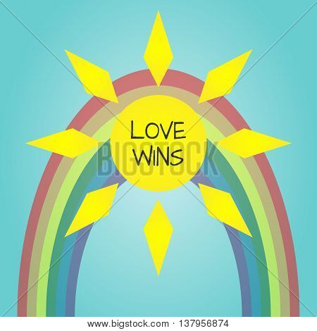 Multicolored LGBT poster. Bright sun dim rainbow text Love Wins. Abstract. Transparency.