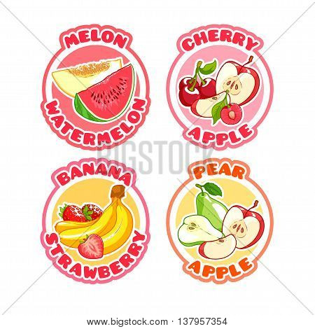 Four stickers with different combinations of fruits and berries. Melon with watermelon apple with cherry banana with strawberry and pear with apple. Vector illustration on a white background.