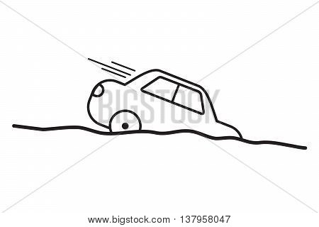 Car fall overboard.Vector line easy design .
