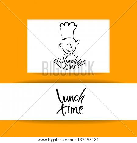 CHEF-COOK with handwritten lettering LUNCH TIME. Hand drawing chef-cook, handmade text lunch-time.Concept identity design for restaurant, cafe, chief-cooker, chef, lunch time.Vector Illustration.