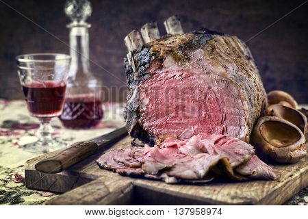 Rib of Beef Cold Cut on Cutting Board