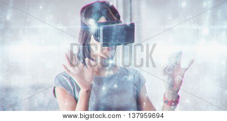 Digitally generated black and blue matrix against business woman using 3d glasses