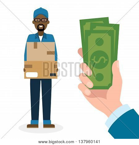 Money for delivery. Handsome african american male cartoon character. Delivery man gets money. Hand holding dollars for boxes. Happy smiling supplier or delivery aget.