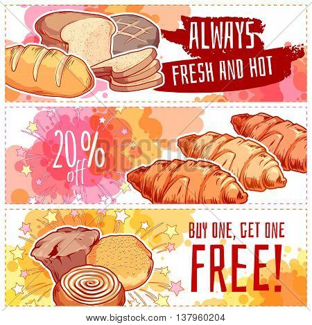 Three horizontal banners with bakery products. Bread buns and muffins. Vector template flayer isolated on a white background.